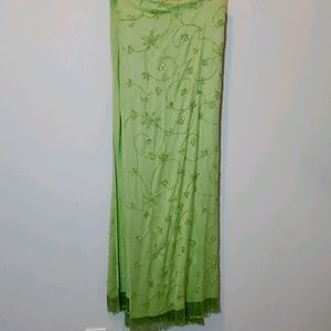 Scarf Wrap Floral Beaded Green